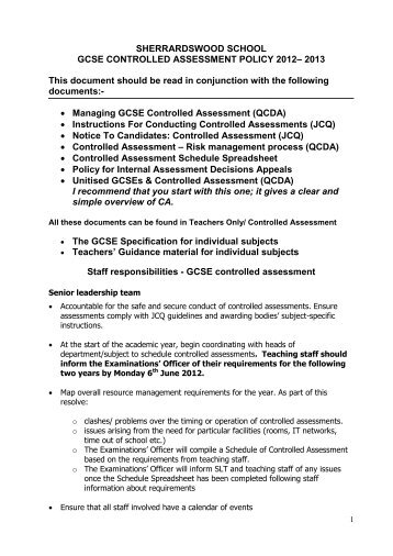 Controlled Assessment Policy 2012-2013 - Sherrardswood School
