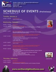 SCHEDULE OF EVENTS (Preliminary) - Northern Lights 2012