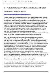 Die Wahrheit über den Verlust der Schmalznudelvielfalt - 03-06-2011