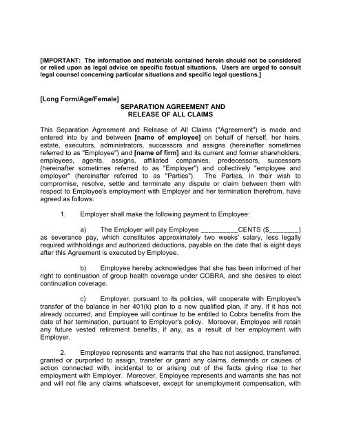 Separation Agreement And Release Of All Claims