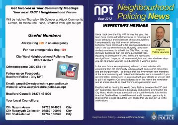 NPT 1 NEWSLETTER SEPT 2012 - West Yorkshire Police
