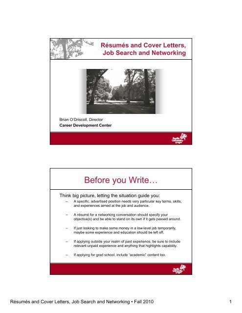 Writing R Sum S And Cover Letters PDF Pacific University