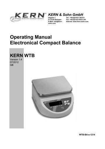 Operating Manual Electronical Compact Balance - KERN & SOHN ...
