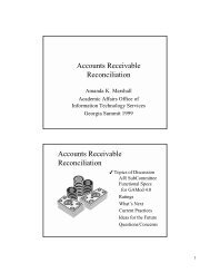 Accounts Receivable Reconciliation - University System of Georgia