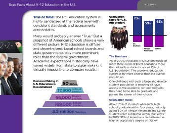 Basic Facts about K-12 Education in the U.S. - Achieve