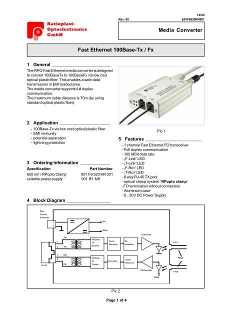 Fast Ethernet Media Converter - Ratioplast on
