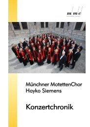 Verzeichnis der Konzerte - Münchner MotettenChor