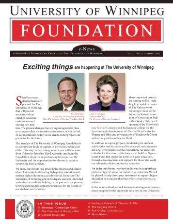 The University of Winnipeg Foundation News Summer 2007