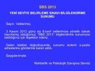 SBS 2013 Bilgilendirme Sunumu
