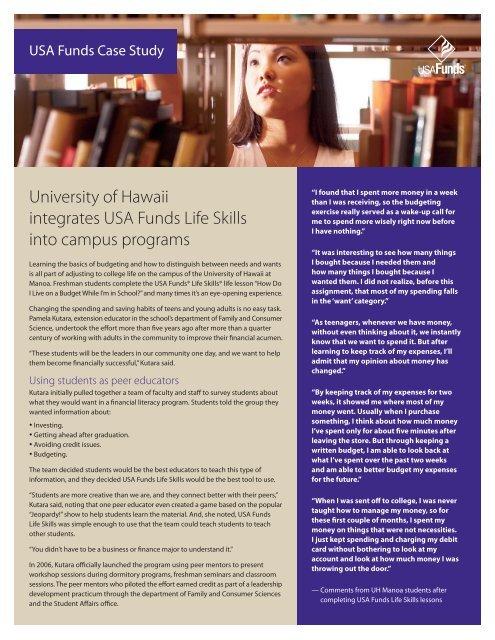 Life Skills Case Study - University of Hawaii, Manoa - USA Funds