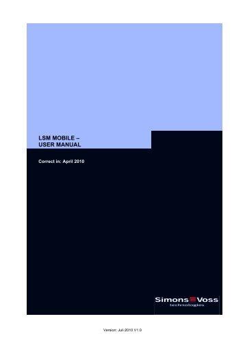 LSM MOBILE – USER MANUAL - SimonsVoss technologies