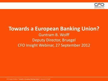 Towards a European Banking Union? - CFO Insight