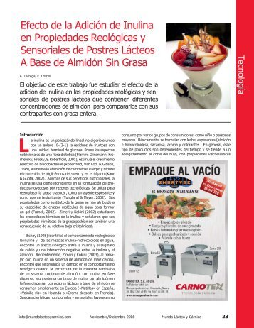 Efecto de la Adición de Inulina en Propiedades ... - AlimentariaOnline