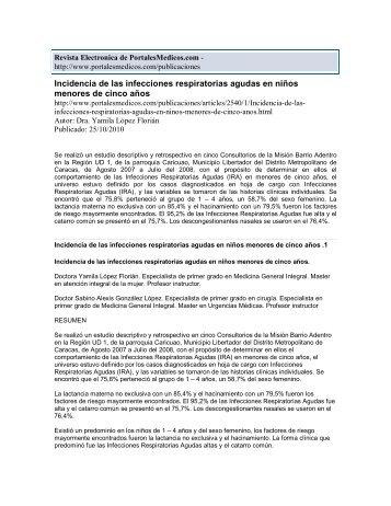 Incidencia de las infecciones respiratorias agudas en ... - Salamandra
