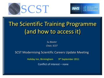 The Scientific Training Programme (and how to access it)
