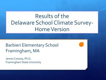 Results of the Delaware School Climate Survey - Framingham ...