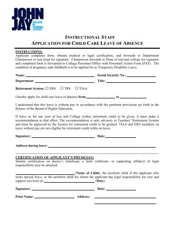 Annexure h application for leave of absence in alternative care 2 instructional staff application for child care leave of absence cuny altavistaventures Images
