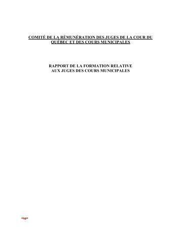 Rapport du comité de la rémunération des juges de la cour du ...
