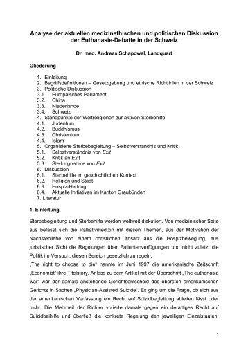 Analyse der aktuellen medizinethischen und politischen Diskussion ...