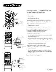 Securing Tornado, C3, High h Batch, and Encore Ovens ... - Turbochef