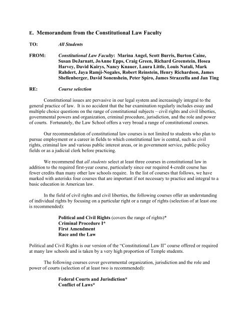 E  Memorandum from the Constitutional Law Faculty - Temple