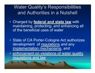 Water Quality's Responsibilities and Authorities in a Nutshell - Cal Fire