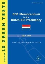 EEB Memorandum to the Dutch Presidency