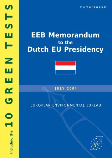 EEB Memorandum to the Dutch Presidency