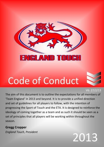 ETA Code of Conduct v6 - England Touch