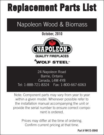 2012 wood napoleon parts pricing - Hearth Products Distributing