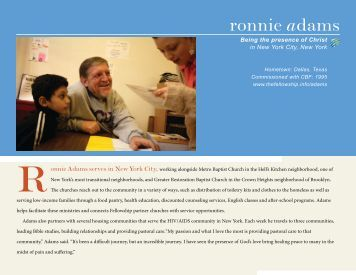 ronnie adams - Cooperative Baptist Fellowship