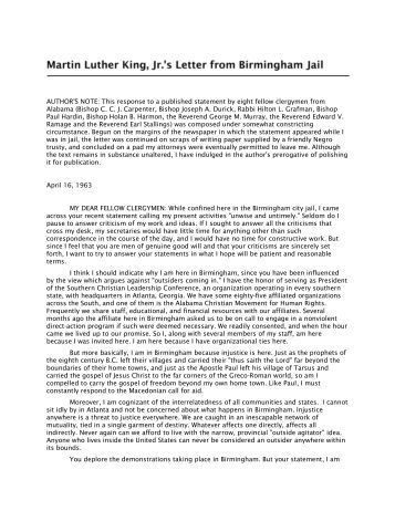 letter from birmingham jail from cowan center