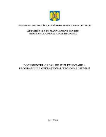 Documentul Cadru de Implementare al POR 2007-2013 - ADR Centru