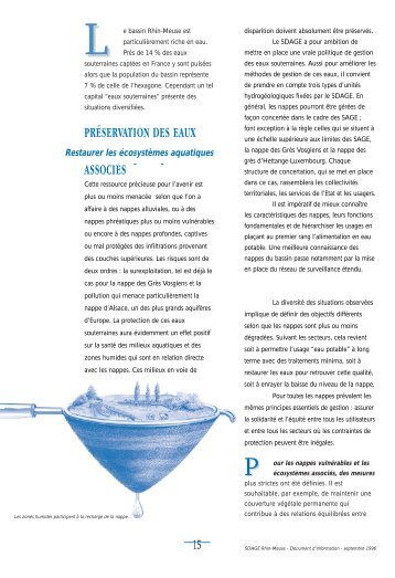 préservation des eaux souterraines et des milieux aquatiques ...