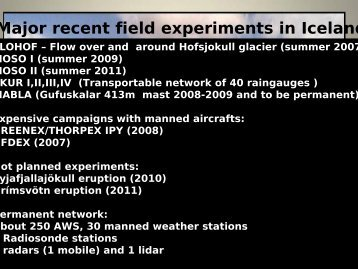 Major recent field experiments in Iceland