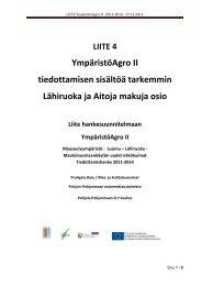 Liite 4 YmpäristöAgro II - Lähiruokaosio tarkemmin ... - ProAgria Oulu