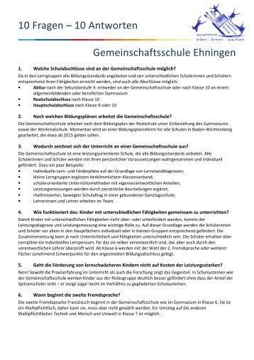 11 Fragen – 11 Antworten Gemeinschaftsschule in Ehningen