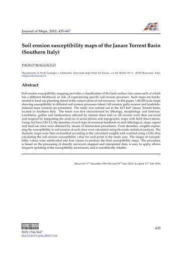 Soil erosion susceptibility maps of the Janare Torrent Basin ...