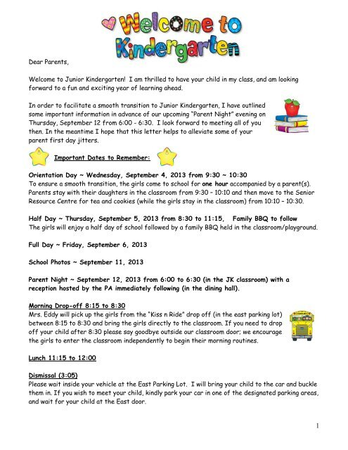 school kindergarten orientation letter