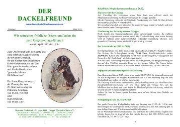 Der Dackelfreund - Nr. 2/2013 - Teckelklub Wiesbaden/ Mainz
