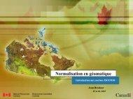 Normalisation en géomatique - Ressources naturelles Canada