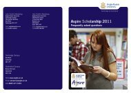 Aspire Scholarship 2011 - Anglia Ruskin University