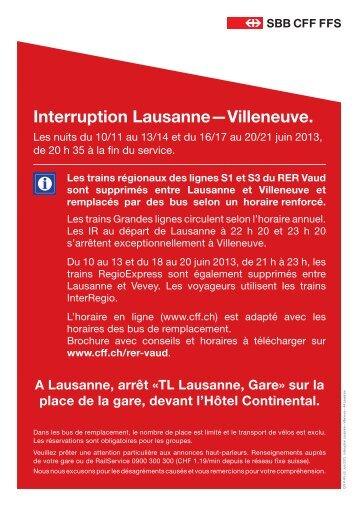 Interruption Lausanne—Villeneuve. - SBB