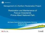 Restoration and Maintenance of Fescue Grasslands Prince Albert ...