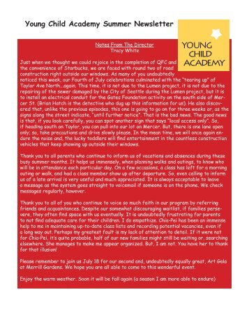 July 2007 News Letter - Young Child Academy