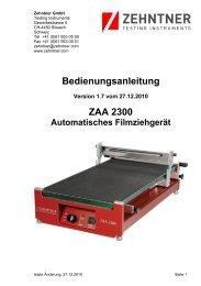 Bedienungsanleitung ZAA 2300 - Zehntner GmbH