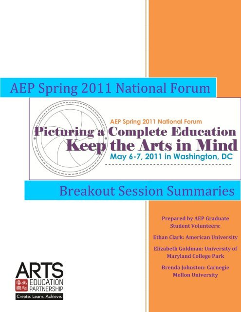 AEP Spring 2011 National Forum - Arts Education Partnership