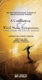 The Conducting and Wind Music Symposium - Carroll University