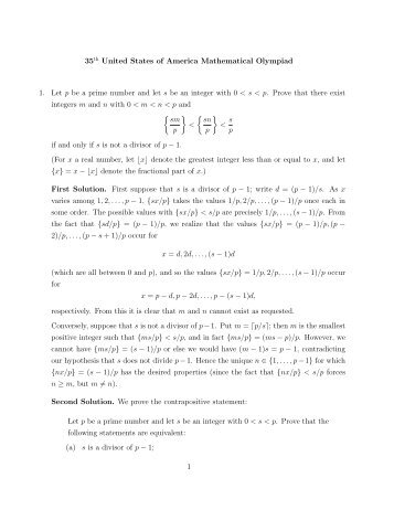 35th United States of America Mathematical Olympiad 1. Let p be a ...