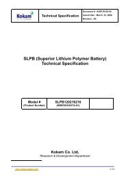 SLPB (Superior Lithium Polymer Battery) Technical Specification
